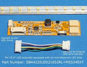 "SB44220LED21652RL+MS534EXT, For 10.4"" NEC LCD originally equipped with LED backlight, 1500 nits"