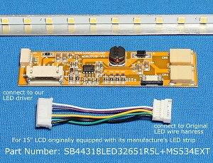 "SB44318LED32651R5L+MS534EXT, For 15"" NEC LCD originally equipped with LED backlight, 1300 nits"