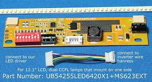 "UB54255LED6420X1+MS623EXT for 12.1"" Dual Lamp LCD Screen"